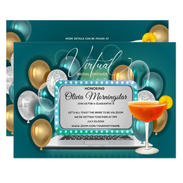 Teal Gold Virtual Bridal Shower Quarantini Party Invitation