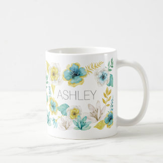 Teal Gold Watercolor Floral Name Gift Mug