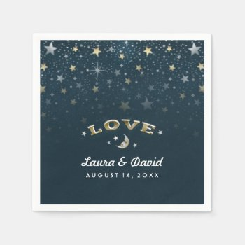 Teal Gold & White Love Moon & Stars Wedding Napkin Standard Cocktail Napkin by juliea2010 at Zazzle