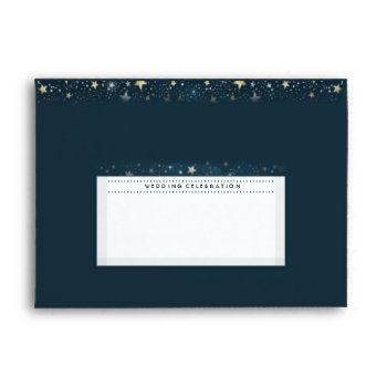 Teal Gold White Moon & Stars Wedding Celebration Envelope by juliea2010 at Zazzle