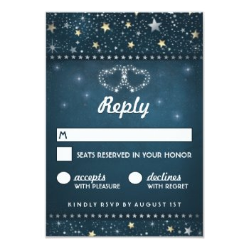 Teal Gold & White Star Hearts 3.5x5 Rsvp 3.5x5 Paper Invitation Card by juliea2010 at Zazzle