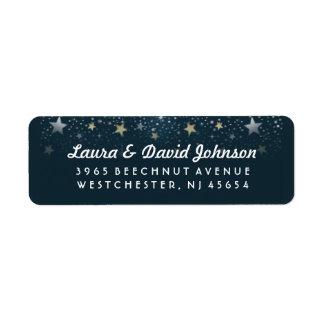 Teal Gold & White Stars Address Label