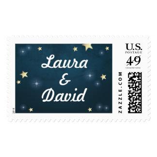Teal Gold & White Stars Custom Name Wedding Postage