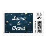 Teal Gold & White Stars Custom Name Wedding Stamps