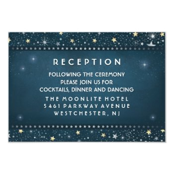 Teal Gold & White Stars Matching 3.5 X 5 Reception 3.5x5 Paper Invitation Card by juliea2010 at Zazzle