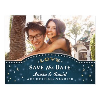 Teal Gold & White Stars Photo Save The Date Postcard by juliea2010 at Zazzle