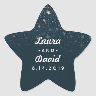 Teal Gold & White Stars Wedding Names & Date Star Sticker
