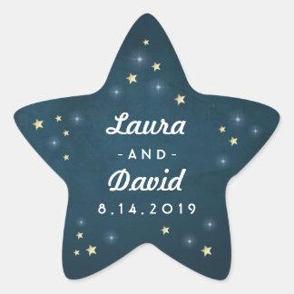 Teal Gold & White Stars Wedding Names & Date Star Sticker