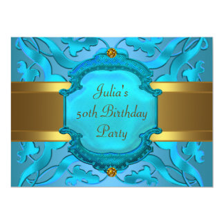 Teal Gold Womans 50th Birthday Party Card