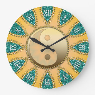Teal Gold YinYang FengShui Home Decor Clock