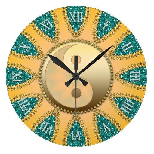 Teal Gold YinYang FengShui Home Decor Clock