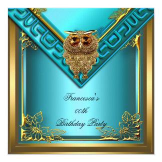 Teal Golden Owl Image Elite Elegant Birthday Party Card