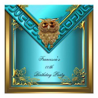 Teal Golden Owl Image Elite Elegant Birthday Party Invites