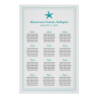 Teal Graceful Starfish 24 x 36 Seating Chart