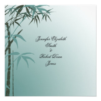 Teal Gradient Natural Bamboo Wedding Announcements
