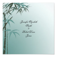 Teal Gradient Natural Bamboo Wedding Invitation