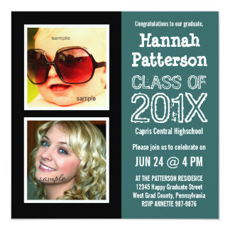 Teal Graduation Party with 2 Photos 5.25x5.25 Square Paper Invitation Card