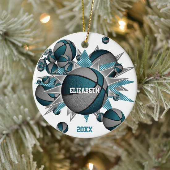 teal gray basketball blowout girls sports ceramic ornament