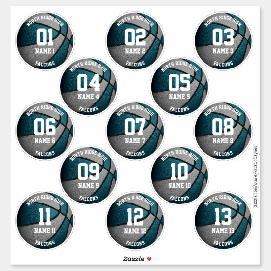 teal gray basketball players names 3 inch stickers