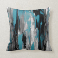 Teal Gray Black and White Abstract Throw Pillow