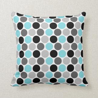 Teal, Gray, Black Retro Circles Pattern Throw Pillow