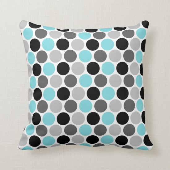 Teal Gray Black Retro Circles Pattern Throw Pillow