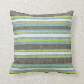 Teal Gray Blue Green Stripes Throw Pillow