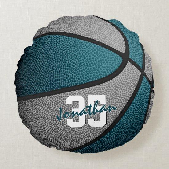 teal gray boys girls sporty basketball round pillow