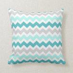 Teal Gray Chevron Decorative Pillow