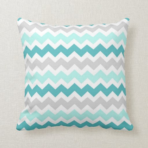 teal gray chevron decorative pillow