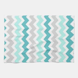 Teal Gray Chevron Kitchen Cloth Towel at Zazzle
