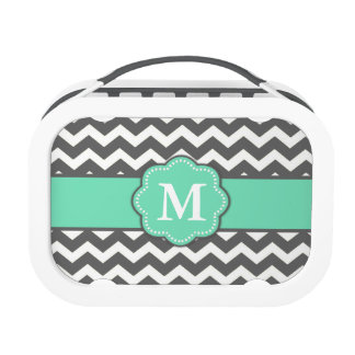 Teal Gray Chevron Monogram Replacement Plate