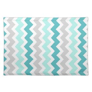 Teal Gray Chevron Pattern Place mats