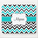 """Teal Gray Chevron Personalized Mousepad<br><div class=""""desc"""">Show off your personal style in a fun way with this black,  gray and teal chevron personalized mousepad.</div>"""