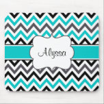 "Teal Gray Chevron Personalized Mousepad<br><div class=""desc"">Show off your personal style in a fun way with this black,  gray and teal chevron personalized mousepad.</div>"