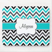 Teal Gray Chevron Personalized Mousepad
