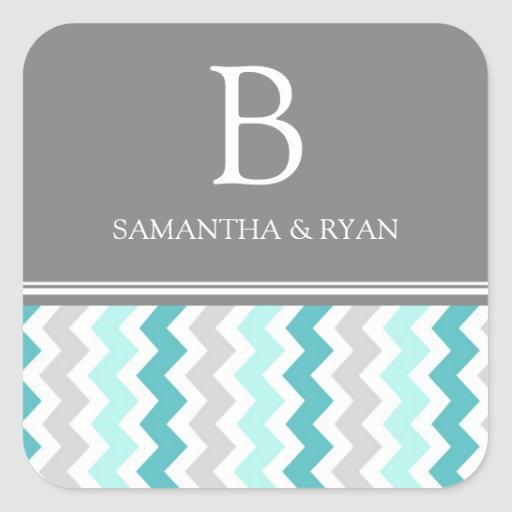 Teal Gray Chevrons Monogram Envelope Seal Square Stickers