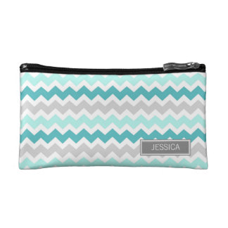 Teal Gray Chevrons Pattern Custom Name Bag Makeup Bag