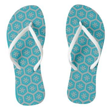 Aztec Themed Teal Gray Geometric 4Dwayne Flip Flops