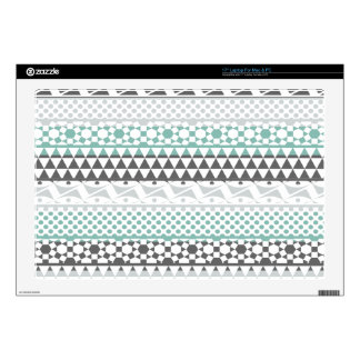 "Teal Gray Geometric Aztec Tribal Print Pattern 17"" Laptop Skin"