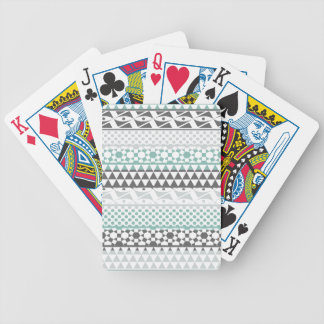 Teal Gray Geometric Aztec Tribal Print Pattern Bicycle Playing Cards
