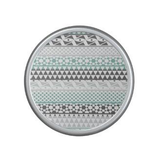 Teal Gray Geometric Aztec Tribal Print Pattern Bluetooth Speaker