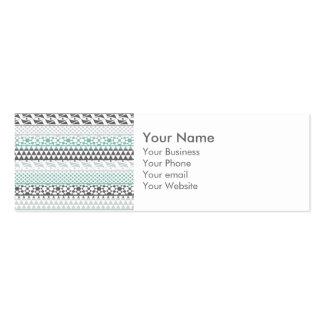 Teal Gray Geometric Aztec Tribal Print Pattern Business Card