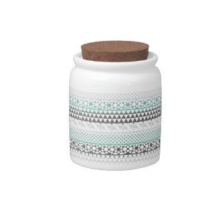 Teal Gray Geometric Aztec Tribal Print Pattern Candy Dishes