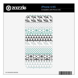 Teal Gray Geometric Aztec Tribal Print Pattern Decal For The iPhone 4