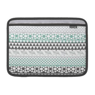 Teal Gray Geometric Aztec Tribal Print Pattern MacBook Sleeve