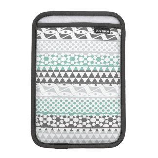 Teal Gray Geometric Aztec Tribal Print Pattern iPad Mini Sleeves