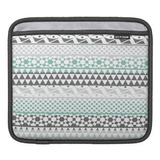 Teal Gray Geometric Aztec Tribal Print Pattern iPad Sleeves