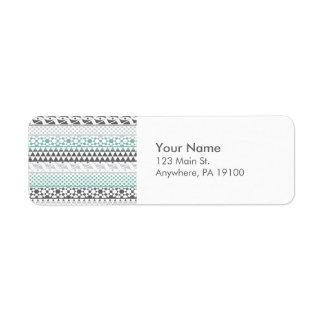 Teal Gray Geometric Aztec Tribal Print Pattern Label