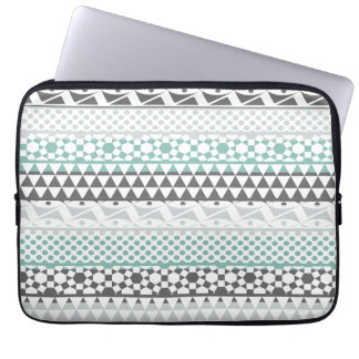 Teal Gray Geometric Aztec Tribal Print Pattern Laptop Sleeves